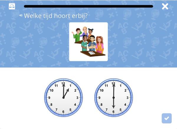 Leerlingomgeving: Een eerste opgave in sessie in het leerdoel 'tijdstippen met hele uren'.